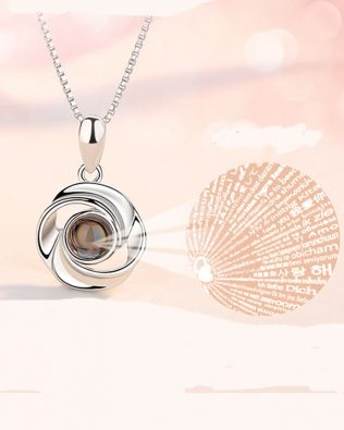 """I Iove you""100 Language Flower Shape Necklace"