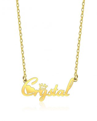 Crystal Style Name Necklace Copper