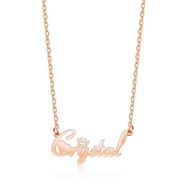 Crystal Style Name Necklace Rose Gold S925