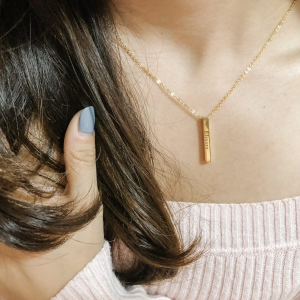 18K Gold Plated Vertical Bar Name Necklace is a great gift idea