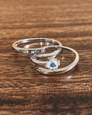 Shine Stone Couple Name Rings