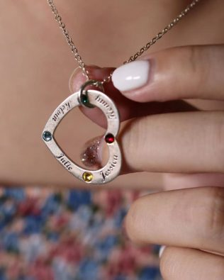 Heart Family Name Necklace Sterling Silver