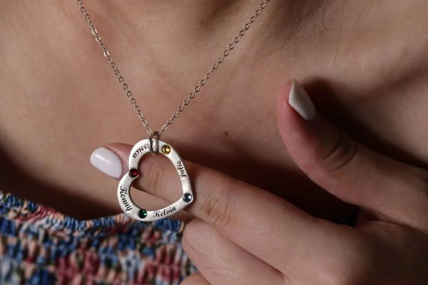 heart family name necklace with birthstone sterling silver