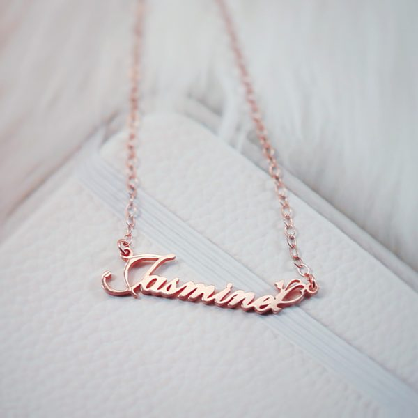 jasmine name necklace rose gold sterling silver