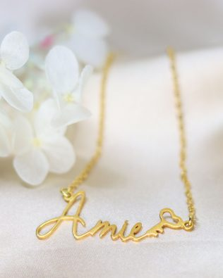 Amie Style Name Necklace Silver