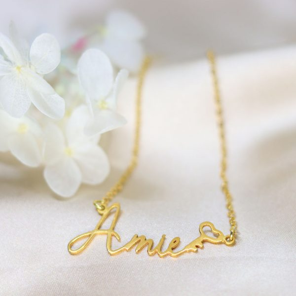 armie style name necklace 18k gold plated sterling silver