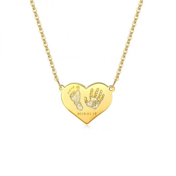 footprint and handprint baby name necklace