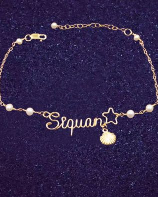 Star and Shell Hand Made Name Bracelet with Pearl