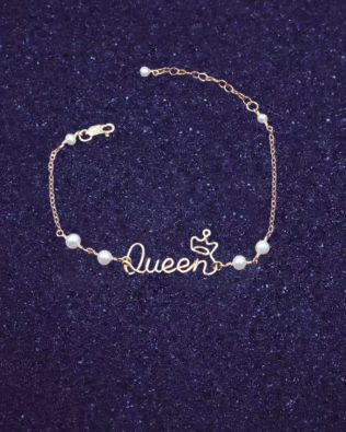 Crown Hand Made Name Bracelet with Pearl