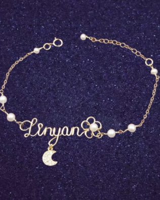 Moon and Flower Hand Made Name Bracelet with Pearl