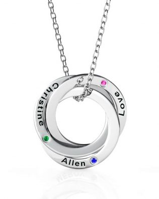Russian Ring Name Necklace with birthstone S925