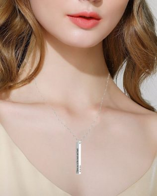 Vertical Long Bar Name Necklace Silver