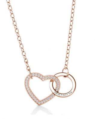 Name Engraving Heart and Ring Style Necklace with Birthstone S925