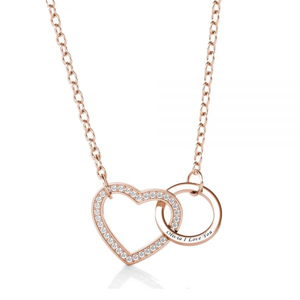 heart and ring name necklace sterling silver rose gold plated