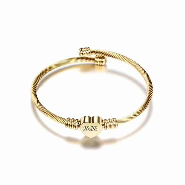 Titanium steel engravable bracelet love tag
