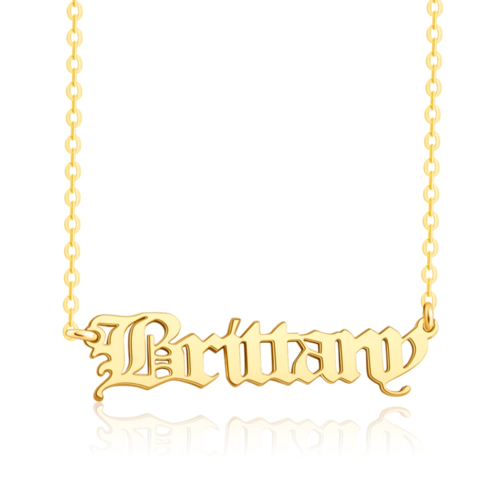 old english style name necklace silver 18k gold plated