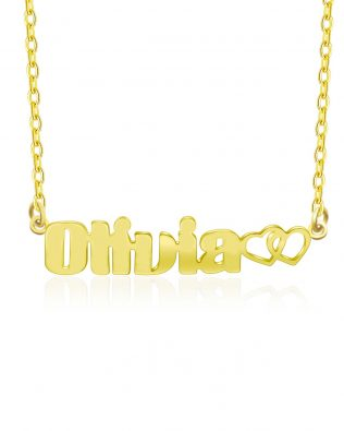 Olivia Style Name Necklace Silver