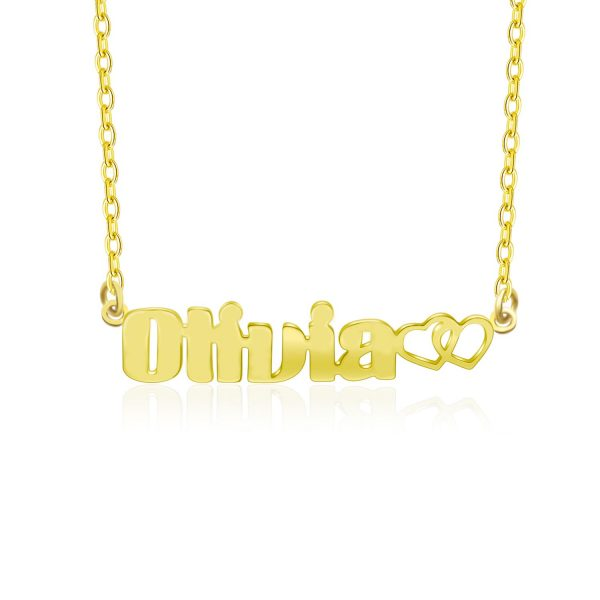 oliva name necklace 18k gold plated silver