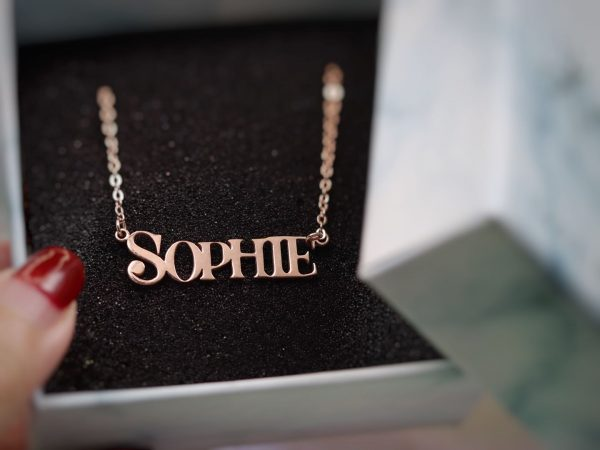 sophie name necklace rose gold plated