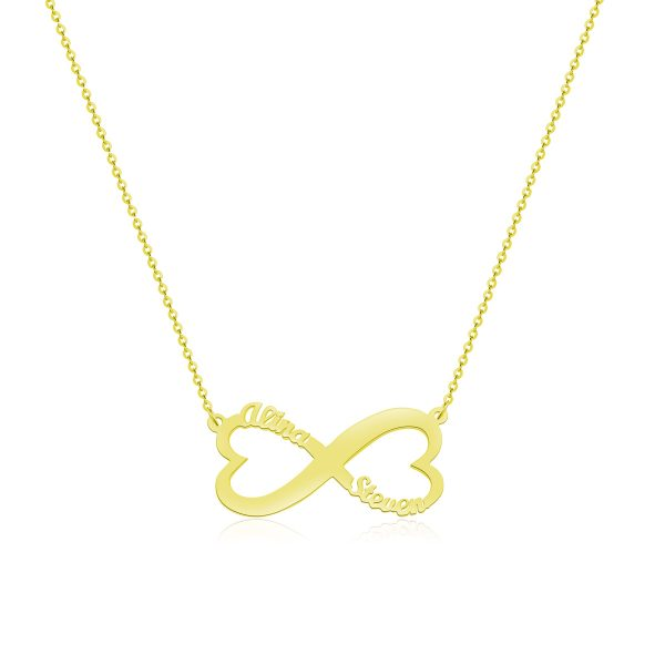 Heart Infinity Name Necklace 18k Gold Plated Silver