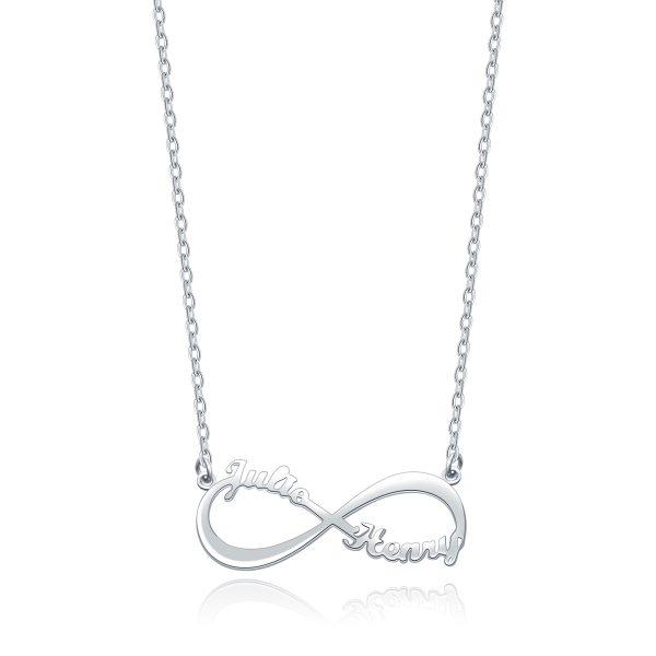 Infinity 2 Name Necklace Platinum Plated Silver