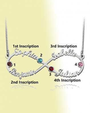 Infinity 4 Name Necklace with Birthstone Silver