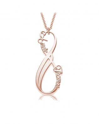 Vertical Infinity Name Necklace Silver