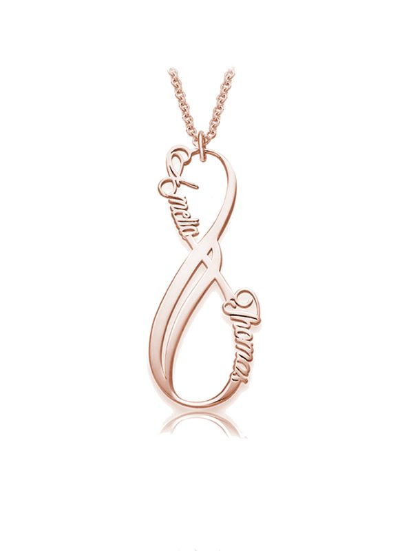 vertical infinity name necklace rose gold plated silver