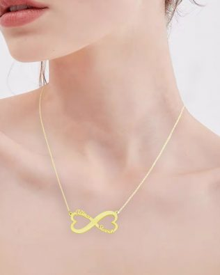 Double Heart Infinity 2 Name Necklace Silver