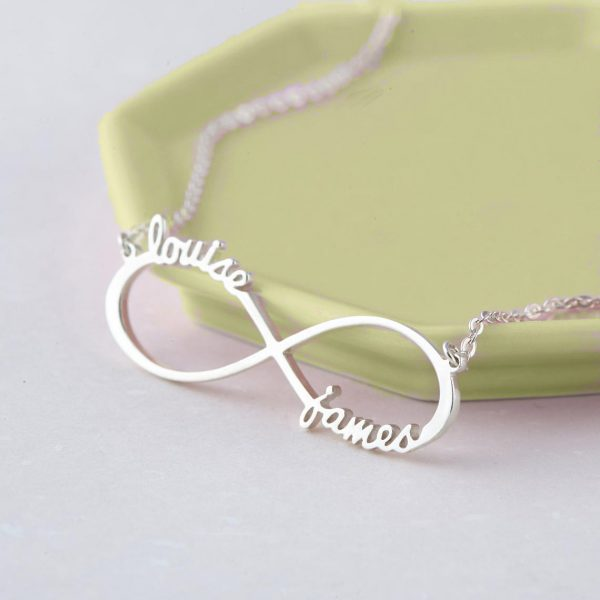 infinity name necklace 2 name silver