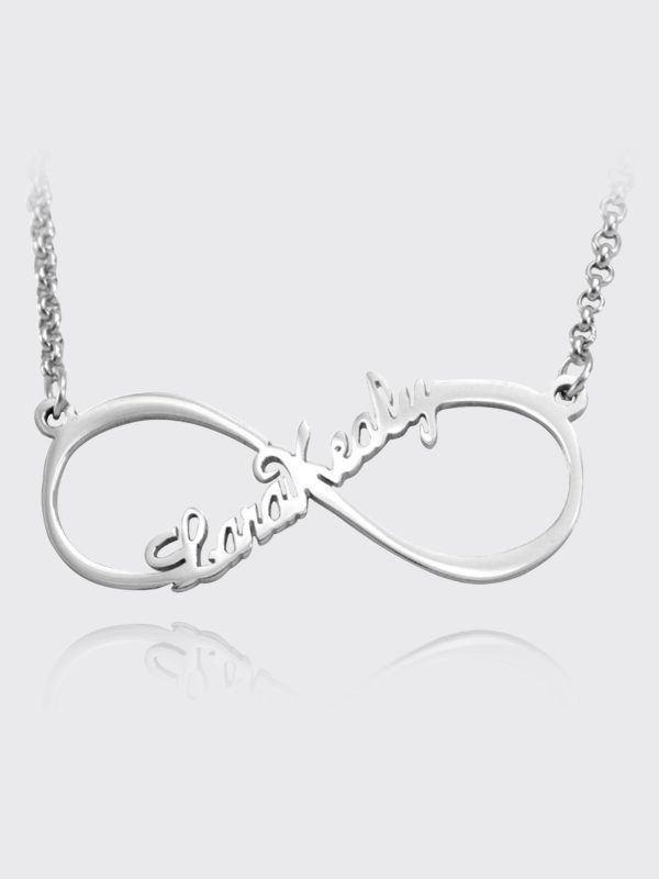 single name infinity name necklace silver platinum plated