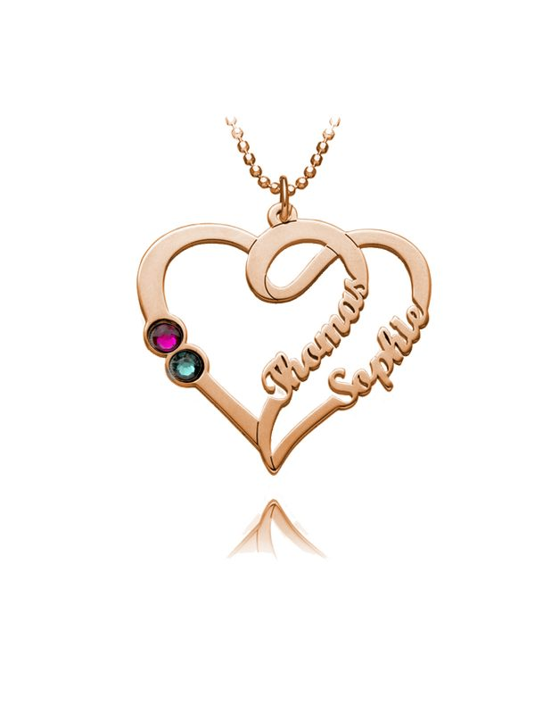 overlapping heart name necklace rose gold silver