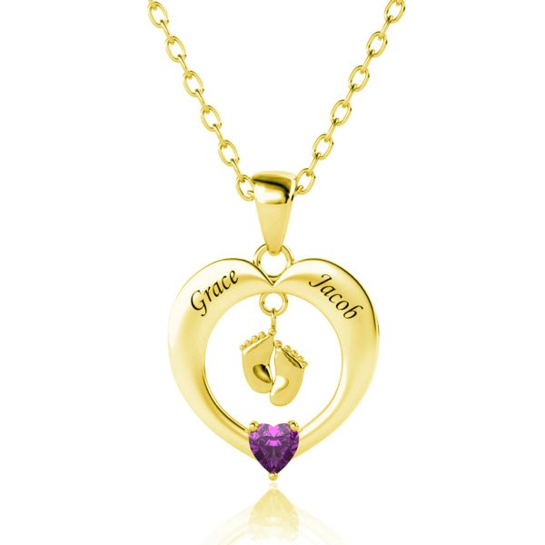 heart feet name necklace 18k gold plated