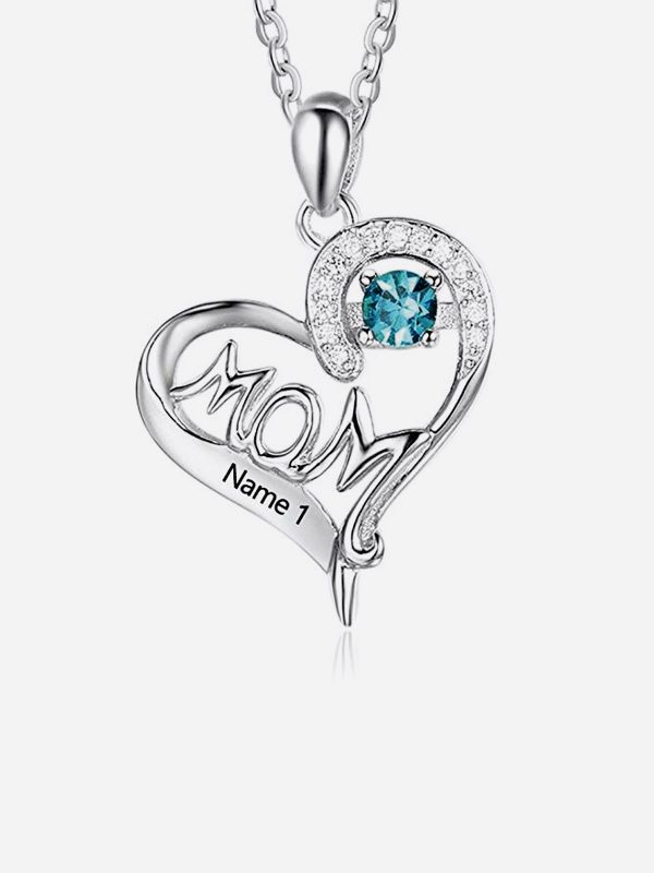mom heart name necklace one name gemstone silver