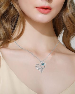 Mom Heart Necklace Silver S925