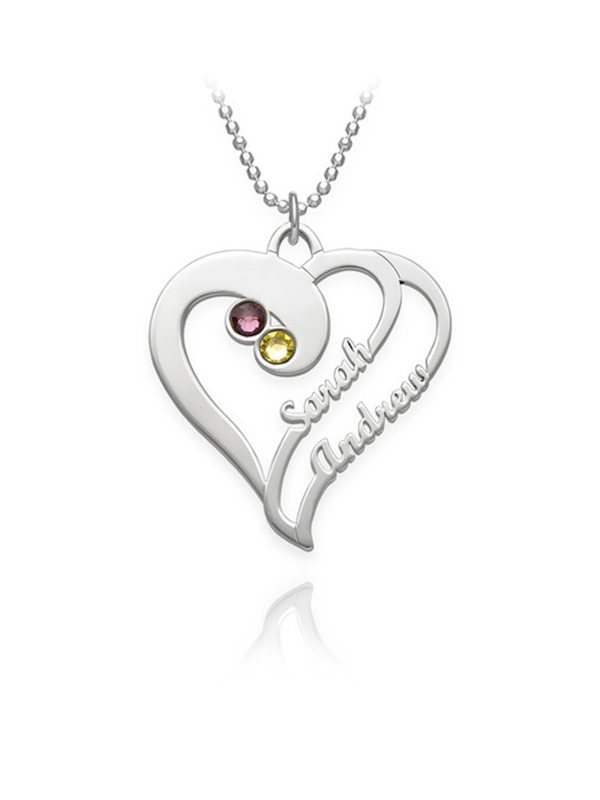 overlapping heart necklace with birthstone