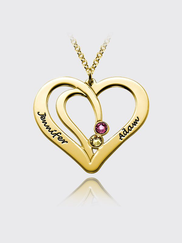 overlapping heart name necklace with birthstone 18k gold silver
