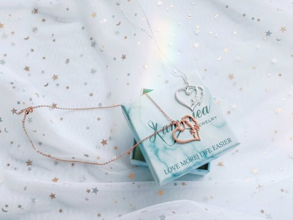 overlapping heart necklace custom name