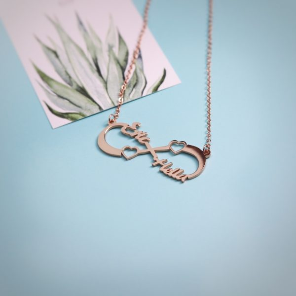 Double Heart Infinity Name Necklace Silver