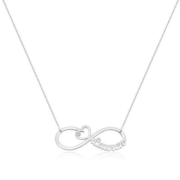 Heart Infinity Single Name Necklace Platinum Plated Silver