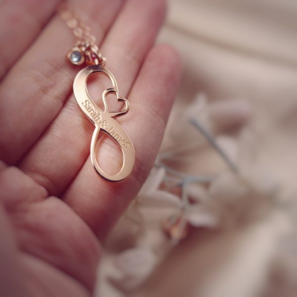 Infinity Name Necklace with Birthstone Silver