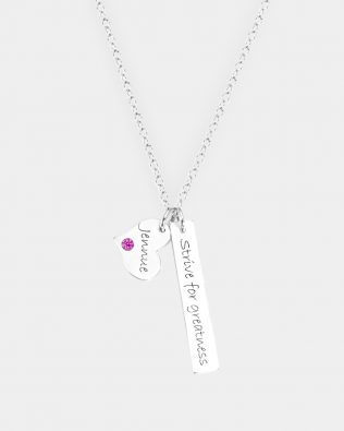 Bar Name Necklace with Birthstones Silver