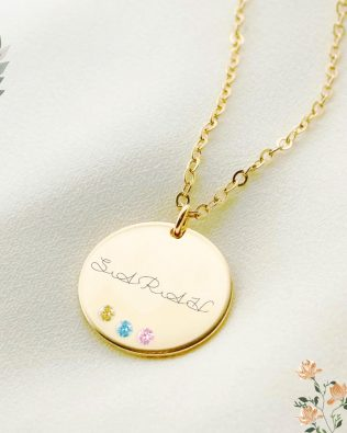 Disc Name Necklace with Birthstones Silver