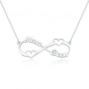 heart infinity name necklace 2 name platinum plated