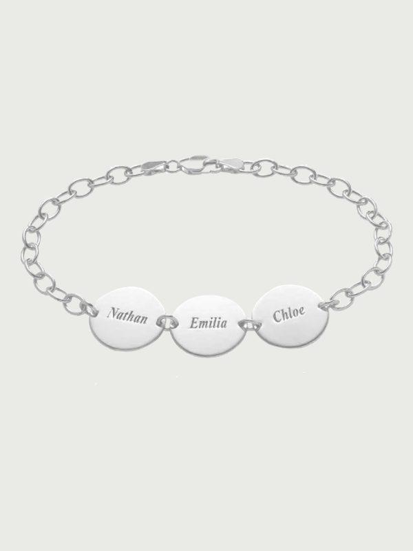 name bracelet engraving inscription Platinum plated silver