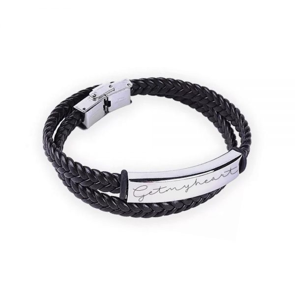 men bracelet engraving name text black