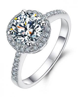 0.5 Carat Round Cut Moissanite Promise Ring Platinum Plated Silver