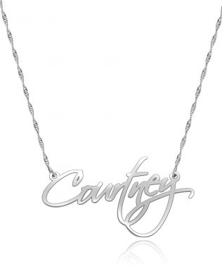 Courtney Style Name Necklace Silver