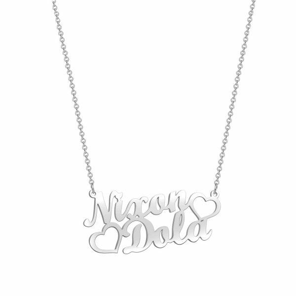 double name necklace sterling silver S925 platinum plated
