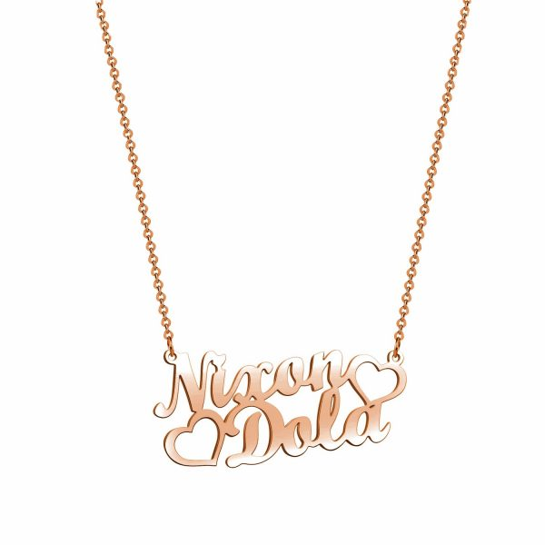 double name necklace sterling silver S925 rose gold plated